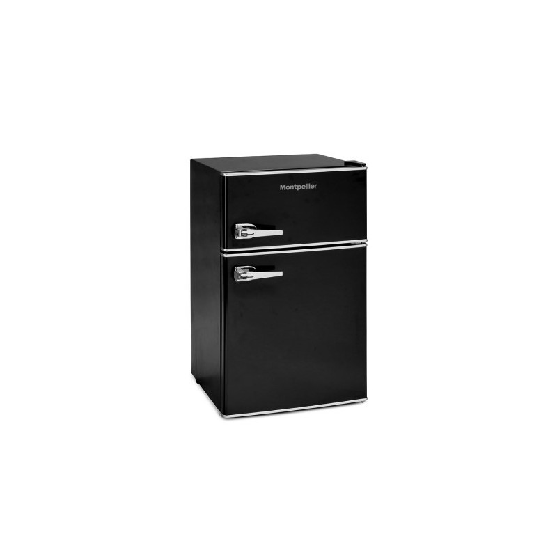 Montpellier MAB2030K Mini Retro Freestanding Under Counter Fridge Freezer - Black MAB2030K