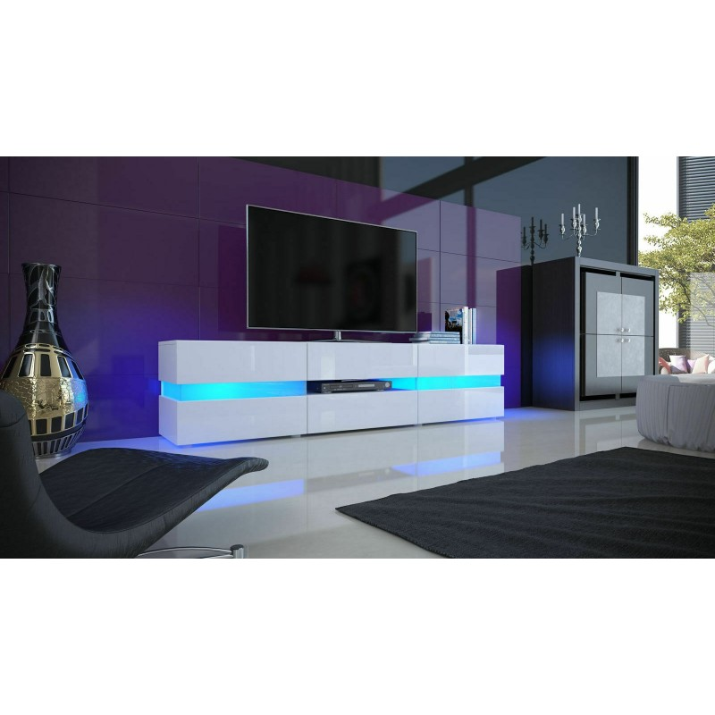 TV High Gloss Front Cabinet With  LED Light  for Living Room Entertainment